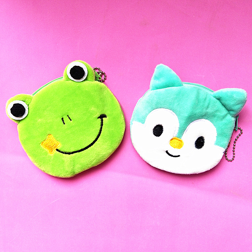 M171 2017 Cute Women Purses Small Fresh Animal Frog Squirrel Plush Coin Purse Wallet Card Bag