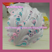 New !60pcs/lot  3 Tone Curly Feather pad ,Nagorie Goose Feather Pad ,Mixed Color for hair accessory,Wholesale