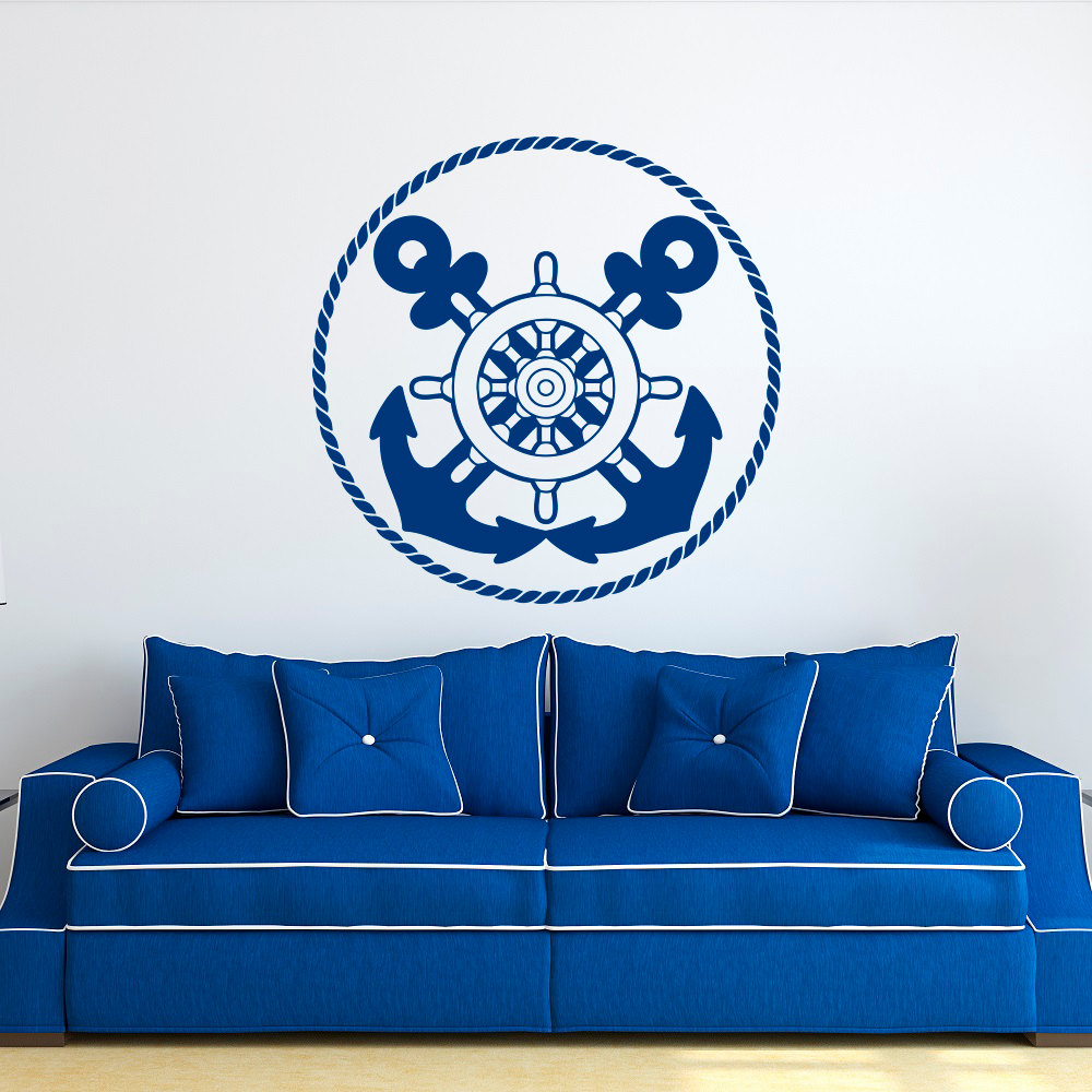 nautical wall decal anchors stickers ship wheel decor blue wall stickers for kids room boy bedroom nursery home decor mural jw58 blue kids furniture wall