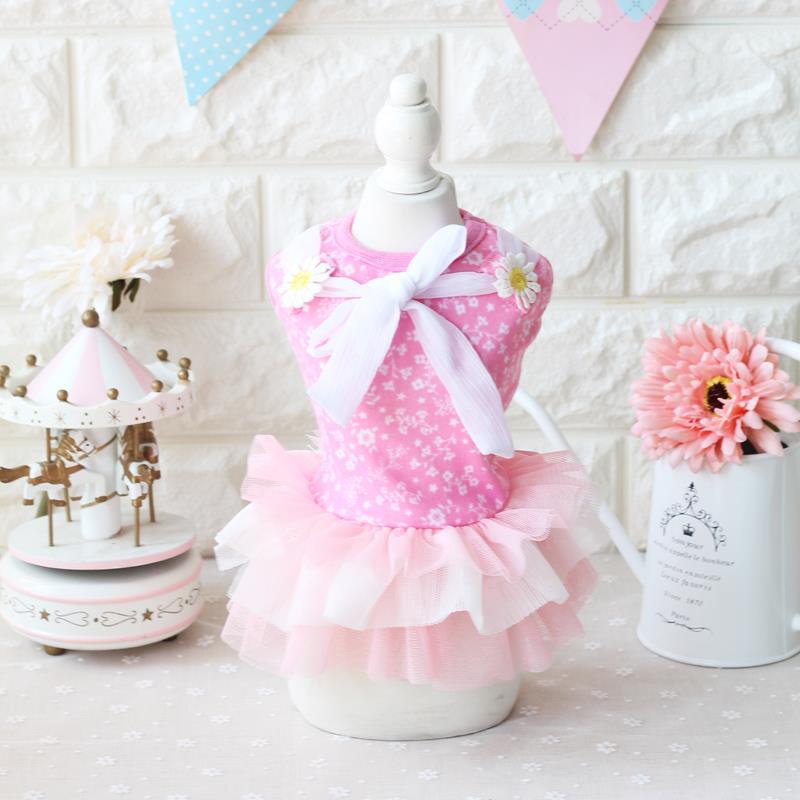 Csipke virág lány női kutya ruha 2017 ÚJ ruházat kutyák kölyök kutya macska kisállat ruházat Ruházat pamut hercegnő fél XS-XL