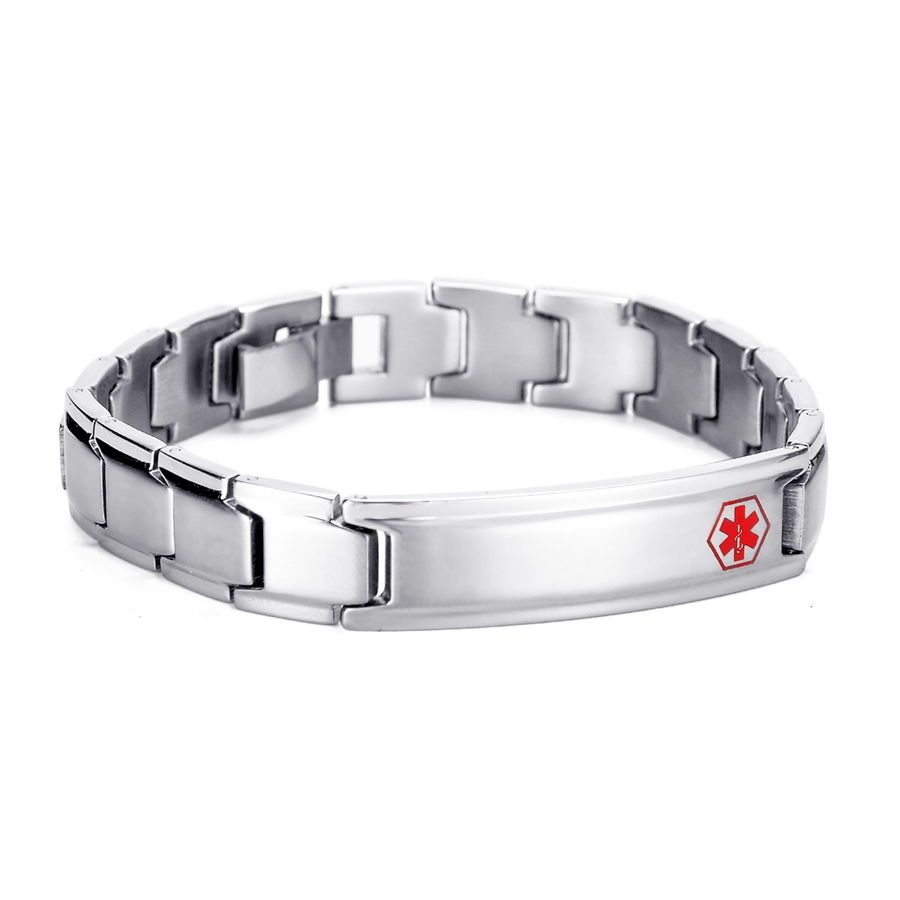 Lasperal Stainless Steel Men Bracelet Star Of Life Medical Sign Charm  Bracelets Fit Engraving Adustable Jewelry