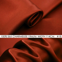 100% SILK CHARMEUSE SATIN 114cm width 19mommes Pure Mulberry Silk Fabric/China Wedding Dress Fabric Suppliers Firebrick NO 18