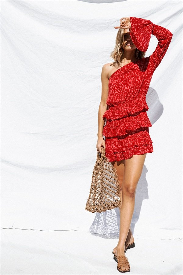 Cascading Ruffle Floral Print Chiffon Dress Backless One Shoulder Slope Long Sleeve Polka Dot Women Celebrity