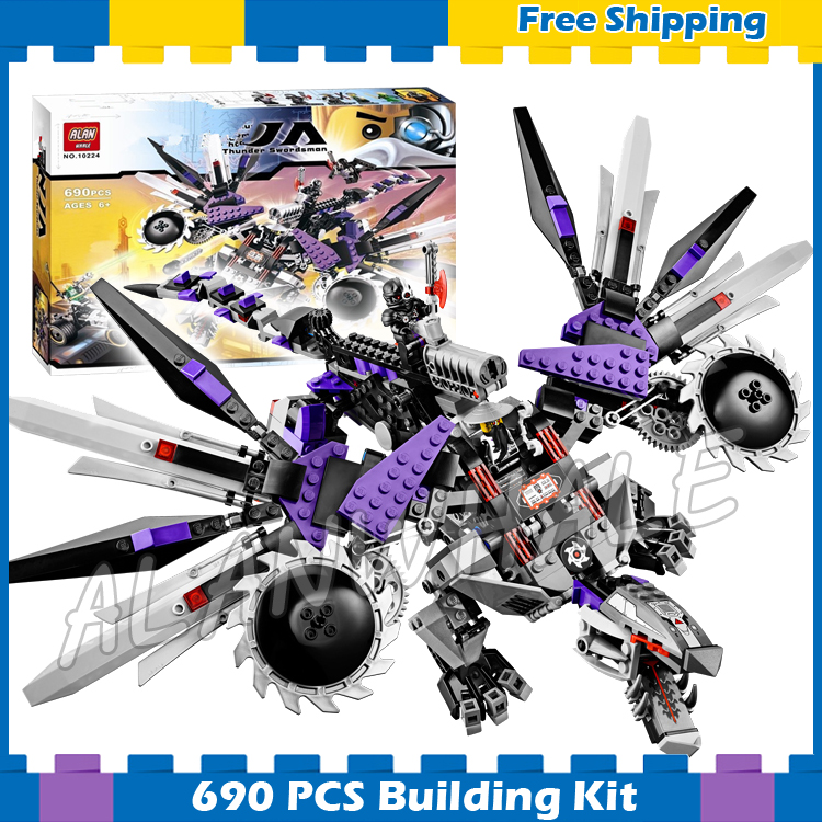 690pcs Bela 10224 Ninja Nindroid Mech Dragon Building Blocks Set Toys Compatible With lego Christmas Gifts lepin 663pcs ninja killow vs samurai x mech oni chopper robots 06077 building blocks assemble toys bricks compatible with 70642