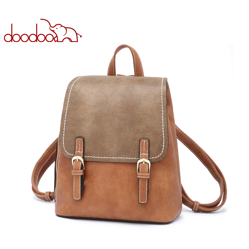 DOODOO Teen Backpack Women Bag Pu Leather Backpacks Travel Multifunctional School Bags 2018 Large Back Pack Shoulder Bag 3 Color 2017 new fashion women backpack female pu leather women s backpacks bagpack bags travel bag back pack multi purpose shoulder bag
