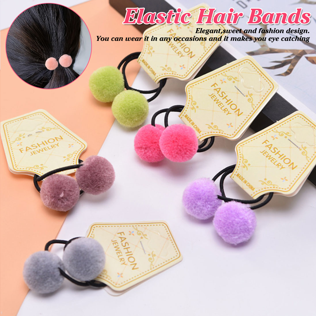 Sweet 2pcs/1lot Baby Hair Accessories Cute Hairball Girls Elastic Hair Bands   Headwear   Baby Rubber Bands Children Hair Rope