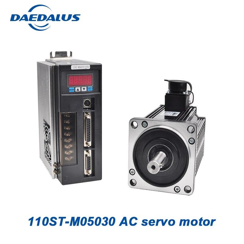 Monophasé moteur à courant alternatif 220 v cnc servomoteur 110ST-M05030 servo moteur à aimant permanent pilote adapté contrôle la vitesse du moteur