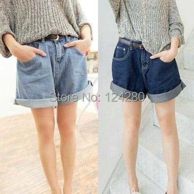 Fashion Women High Waisted Oversize Crimping Boyfriend Jeans Shorts summer shorts size 10 XXXL