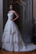 Hot Sale Halter Neck Tiered Wedding Dress Elegant A-line Sleeveless Applique With Beading Bridal Gown NM 525