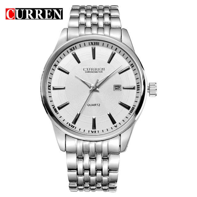 <font><b>Curren</b></font> Brand Fashion Men's Full stainless steel Military Casual Sport Watch Waterproof Date Quartz Wristwatch relogio masculino image