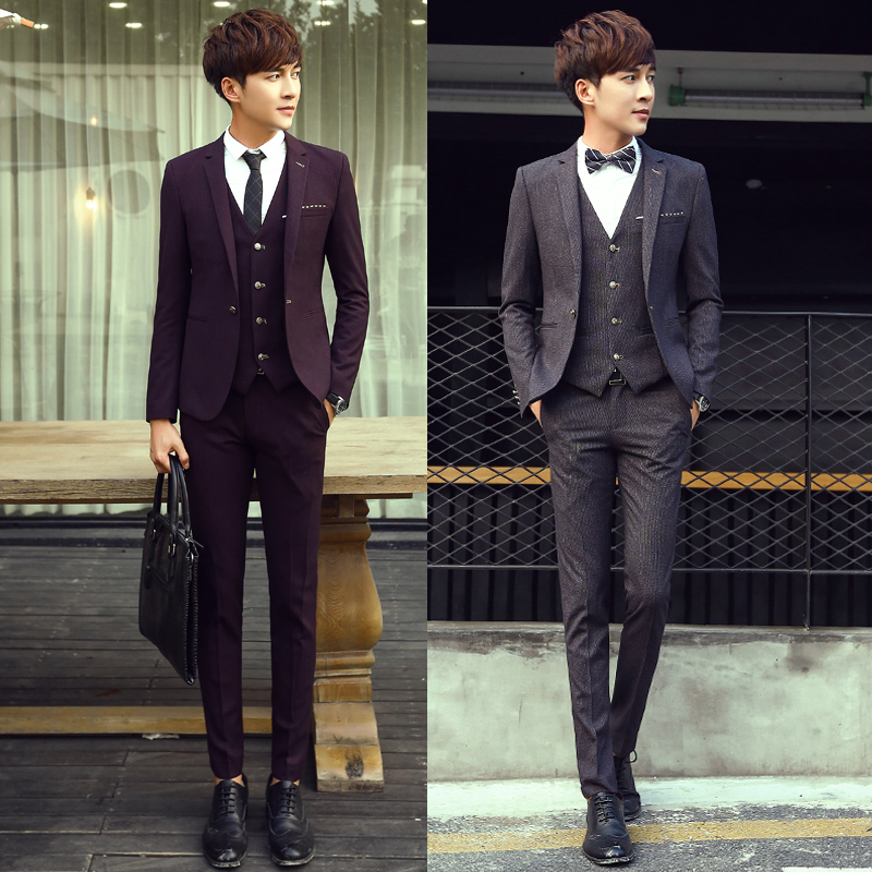 2018 Korean Men Clothing Business Casual Suit British