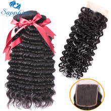 Safir Deep Wave Human Hair 3 Bundlar With Closure Deep Curly Brasilianska Hårvävspapper med Lace Closure Hair Extension