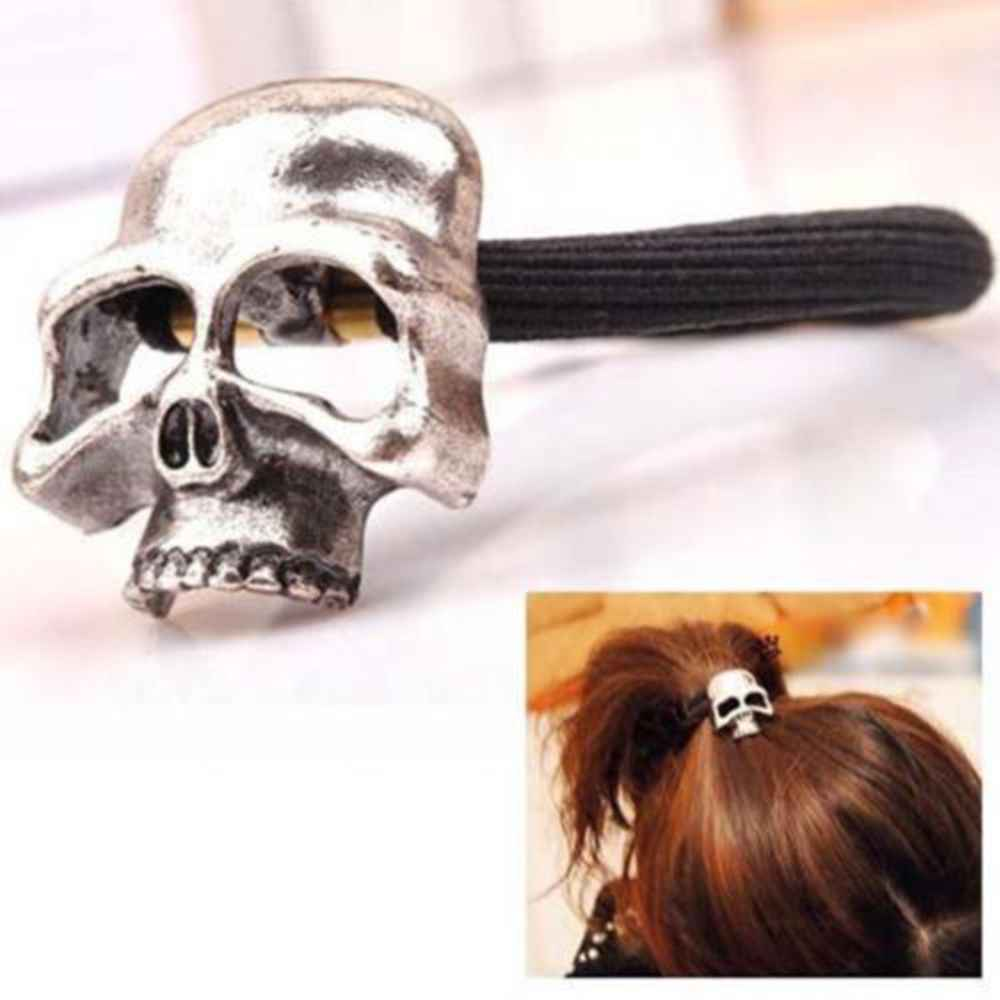 New 1 Pc Women Hot Fashion Punk Gothic Skull head Elastic Hair Rope Halloween Hair Accessories elastic hair bands