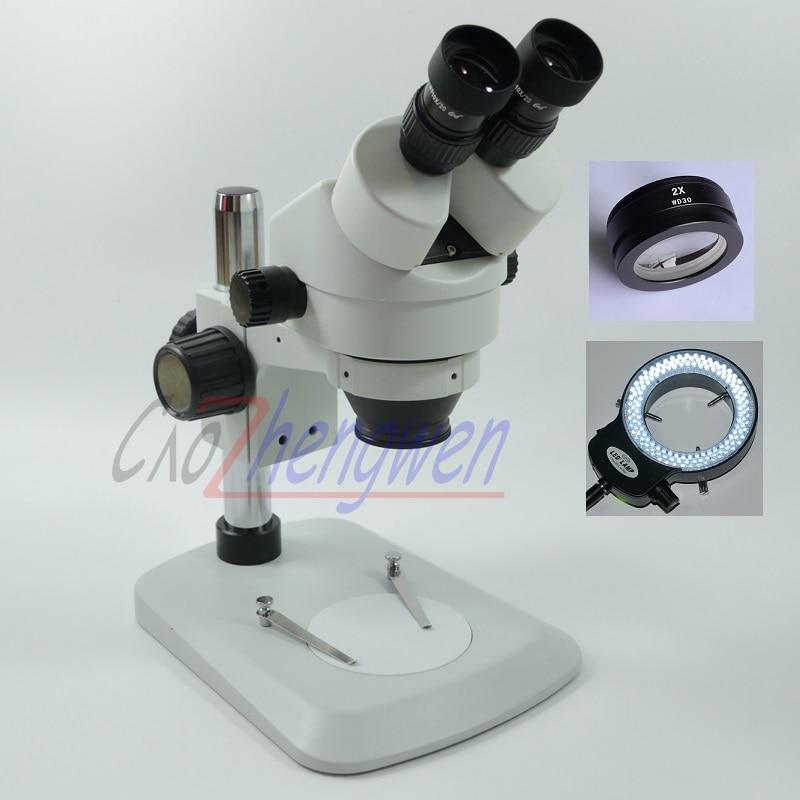 FYSCOPE New Arrive 7X-90X Table Pillar Stand Binocular Stereo Microscope Students Microscope+144pcs led Light цена