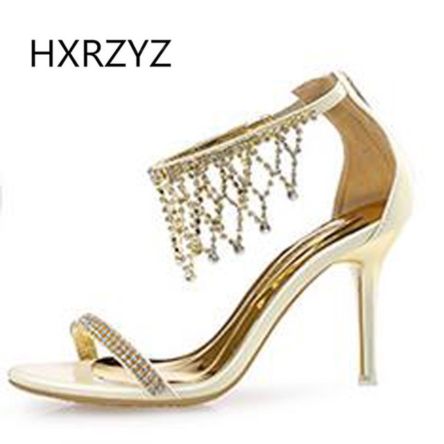 HXRZYZ Female sandals gold silver sexy high heeled shoes thin ...