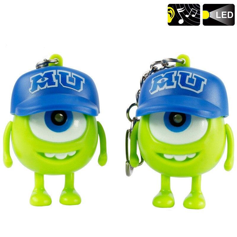 Ζεστό κέικ Led Mick Wazowski Μπρελόκ 3D εικόνα κινουμένων σχεδίων Monsters torch light Ηχητικά παιχνίδια για το Kid best Gift Wazowski toy 10pcs / lot