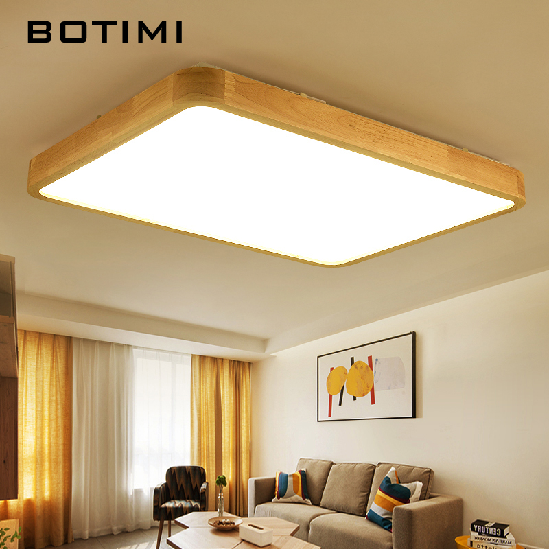 BOTIMI Modern LED Ceiling Lights Wooden Square Ceiling Lamp With Remote For Living Room Wood Kitchen Lights Round Bedroom Lamps vemma acrylic minimalist modern led ceiling lamps kitchen bathroom bedroom balcony corridor lamp lighting study