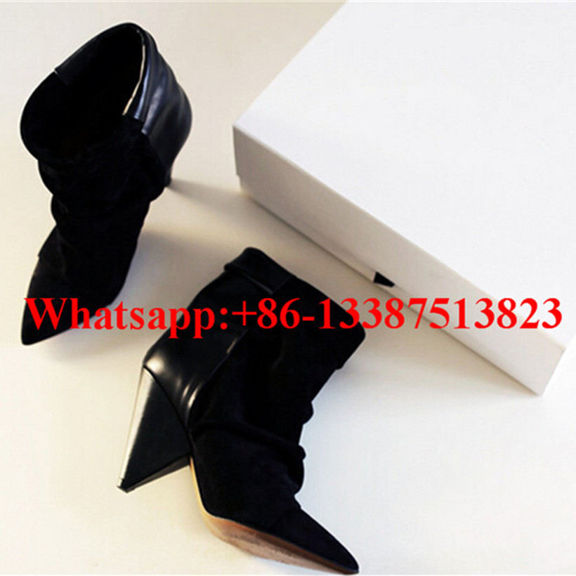 где купить  Black Suede And Soft Leather Patcwork Pleated Ankle Boots Pointed Toe Spikes Heels Slip-On Andrew Botas Mujer Ladies Shoes Woman  по лучшей цене