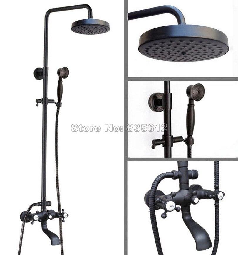 Black Oil Rubbed Bronze Wall Mounted Bathroom Shower Head Rain Shower Faucet Set Dual Cross Handles Bath Tub Mixer Tap Whg107