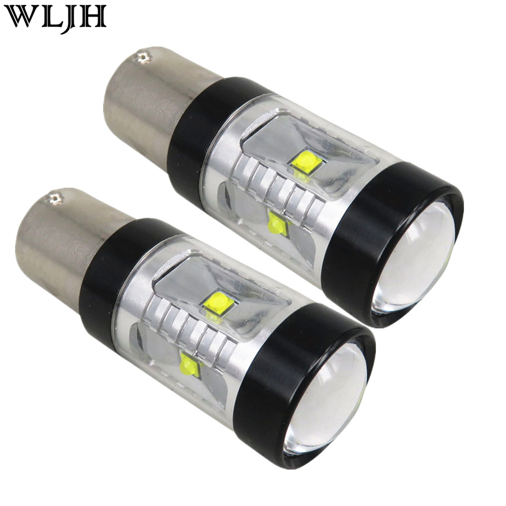 WLJH 2pcs 30W 800lm S25 1156 BA15S LED Bulb P21W  XBD LED Chip Len For Car Backup Light Lamp Reverse Lamp Sourcing DC12-24V ruiandsion 2x75w 900lm 15smd xbd chips red error free 1156 ba15s p21w led backup revers light canbus 12 24vdc