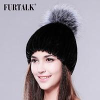 FURTALK Russian mink fur hat winter hat beanie with fox fur pom pom