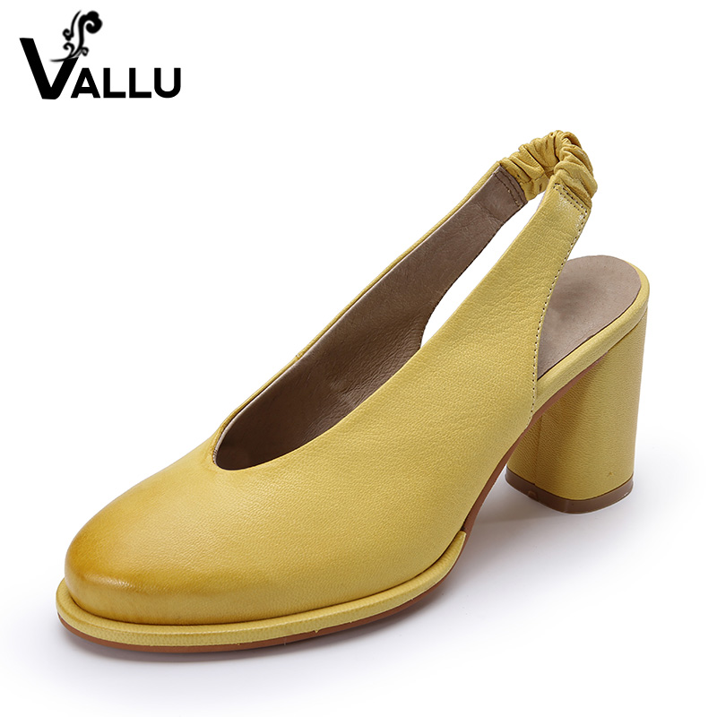 2018 Genuine Leather Women Pumps Round Toes High Heels Slingback Retro Style Han