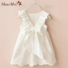 High Quality Summer Girl Dresses Solid White Kids Dresses for Girl 2017 New Arrival Cotton Children Clothing Vestido Infant
