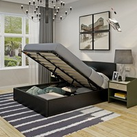Modern Gas Lift Faux Leather Bed Storage Ottoman Black White 3FT 4FT6 5FT King Size Bedroom