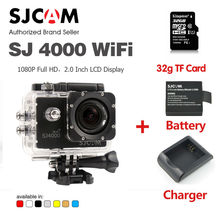 Original SJCAM SJ4000 Wifi 1080P Waterproof Sport Action Camera Camcorder Car DV with 32G TF memory card Extra battery Charger