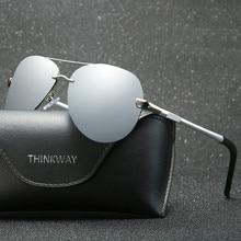 SALIHA Men Polarized Sunglasses Metallique Rimless Gradient lunettes driving glasses 2019 brand designer UV400