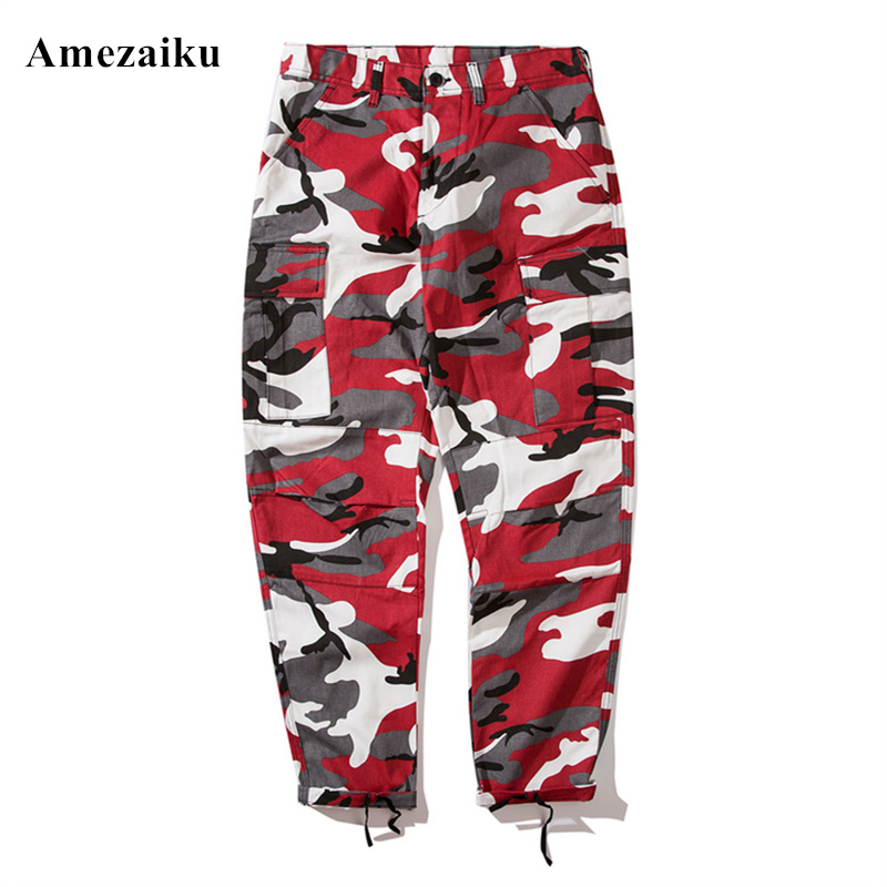 Color Camo Cargo Pants 2017 Mens Fashion Baggy Tactical Trouser Hip Hop Casual Cotton Multi Pockets Camouflage Military Pants