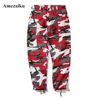 Color Camo Cargo Pants 2017 Mens Fashion Baggy Tactical Trouser Hip Hop Casual Cotton Multi Pockets