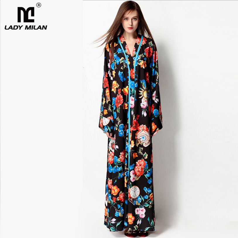 New Arrival 2018 Womens Sexy V Neck Long Sleeves Floral Printed Loose Design High Street Fashion Maxi Casual Dresses
