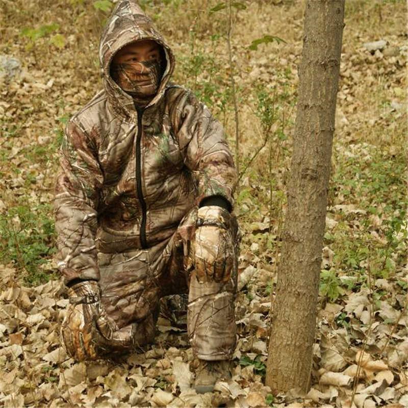 ฤดูหนาวใหม่กลางแจ้งตกปลาเสื้อผ้าWindproof Hoodedตกปลาชุดอุ่นCamoล่าสัตว์ขนแกะเสื้อสำหรับชาย