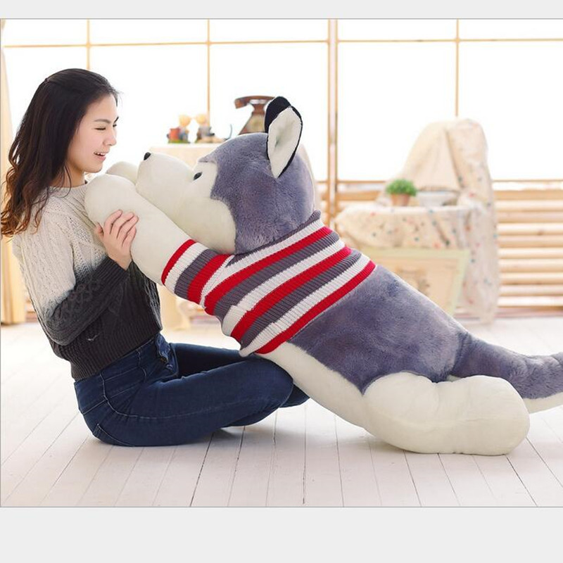 1 pièces Kawaii taille géante dessin animé gris chandail réel vie Husky chien peluche jouet enfants jouets oreiller coussin enfant noël cadeau d'anniversaire
