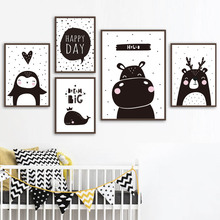 Hippo Bear Penguin Whale Wall Art Canvas Painting Black White Nordic Posters And Prints Cartoon Pictures For Kids Boy Room