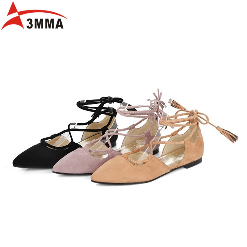 3MMA Spring Autumn Ladies Shoes Ballet Flats Women Flat Shoes Woman Ballerinas Lace Up Pointed Toe Ribbons Casual Shoes Big size drfargo spring summer ladies shoes ballet flats women flat shoes woman ballerinas pointed toe sapato womens waved edge loafer