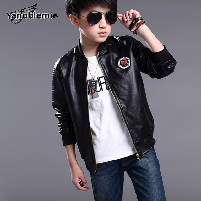 5b6277659 Boys Leather Jacket Children s Solid Color PU Leather Jacket Baby ...