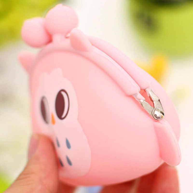 Linda cartera búho de la moneda del silicón del monedero de dibujos animados Color caramelo bolsa de moneda bolso las mujeres bolso bolsas clave organizador de auriculares
