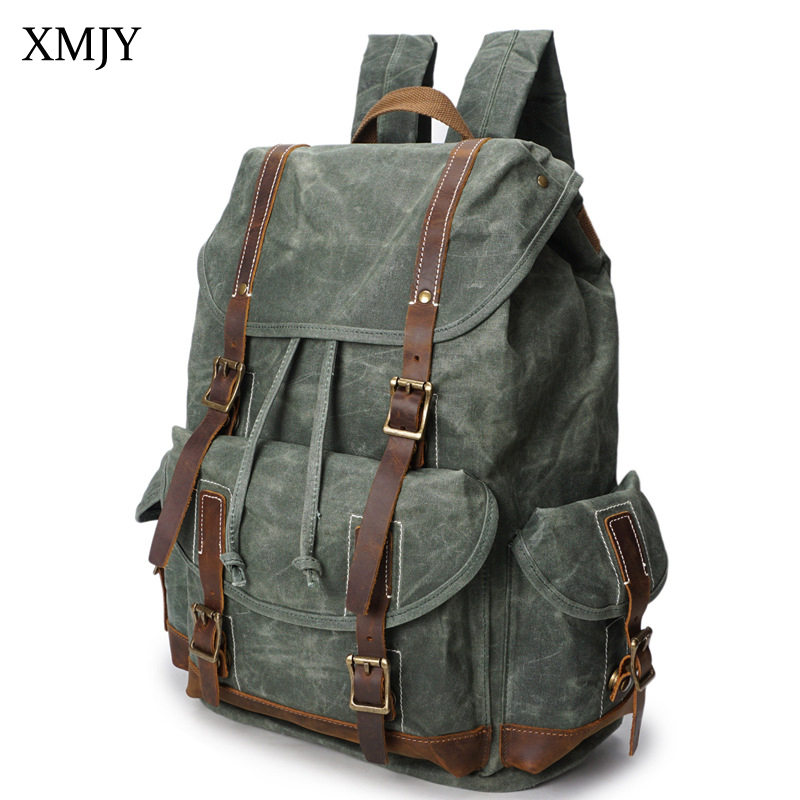 XMJY Men's Backpacks Canvas Leather Vintage Travel Bags Waterproof Large Capacity Laptop Backpack Men Women Unisex Rucksacks large capacity backpack laptop luggage travel school bags unisex men women canvas backpacks high quality casual rucksack purse