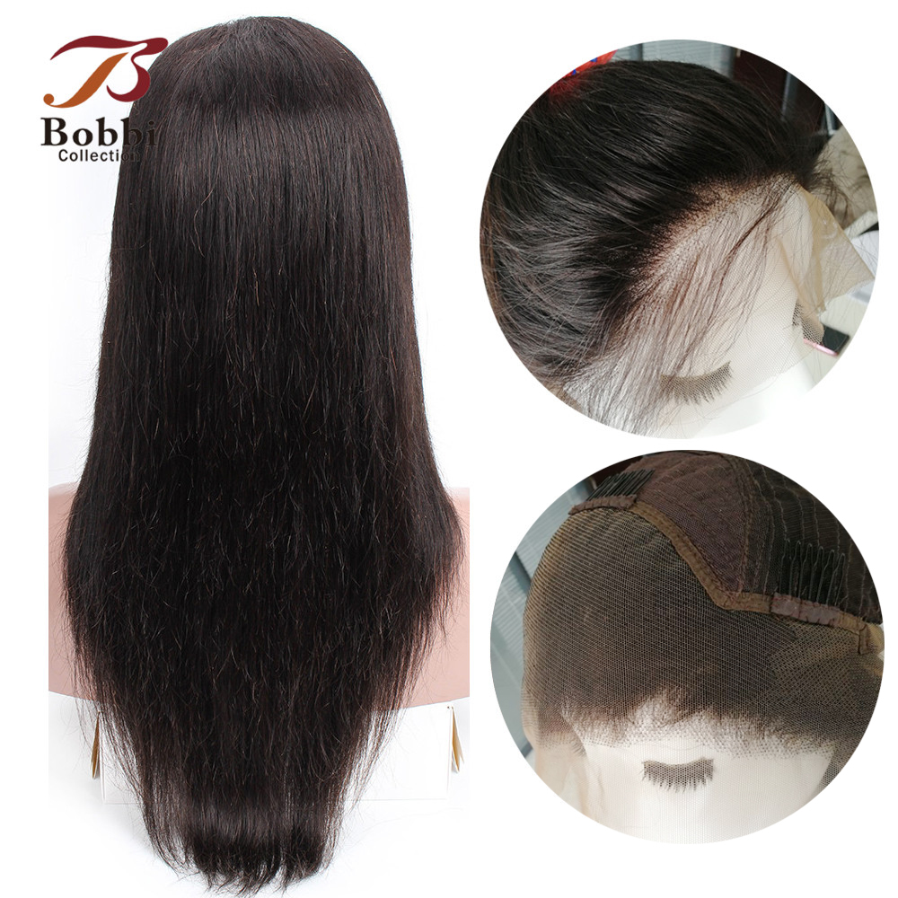 BOBBI COLLECTION Lace Front Human Hair Wigs Pre-Plucked Glueless Lace Front Wig Non Remy Indian Straight Hair Natural Color