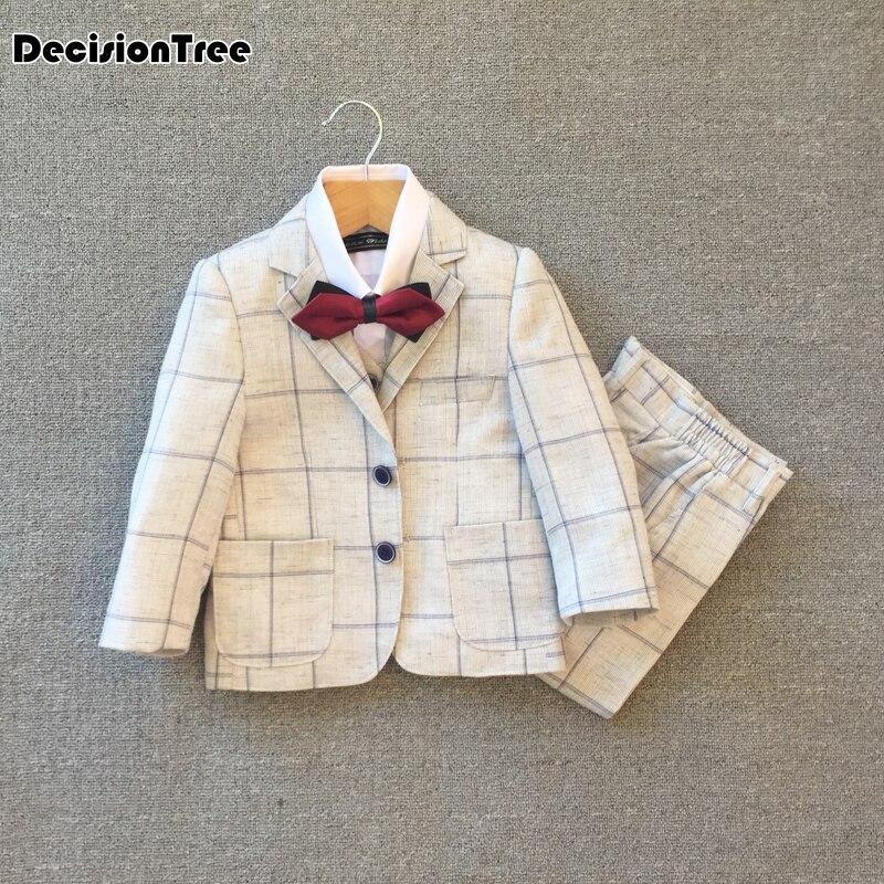 2019 novas crianças xadrez calças colete flor meninos formais smoking casamento ternos blazer escola terno conjunto roupa de crianças