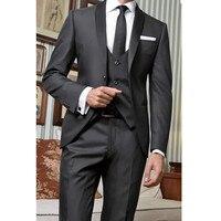Для мужчин классический костюм торжественное платье Черный apple Воротник Пользовательские Для мужчин профессиональный костюм (топ + брюки +