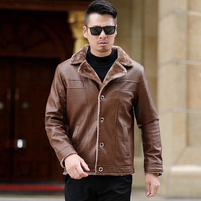 KUYOMENS L-5XL hiver nouveau manteau décontracté hommes veste en cuir Zipper épais chaud doublure en cachemire hommes veste en cuir d'hiver