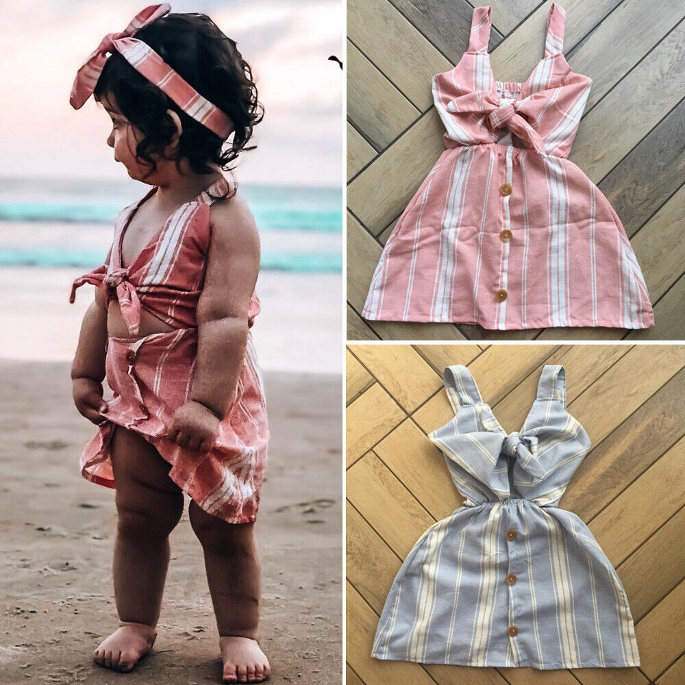 Fashion Summer Toddler Kids Baby Girls Sleeveless Clothes Stripe Bow-knot Party Dress Sundress Clothes