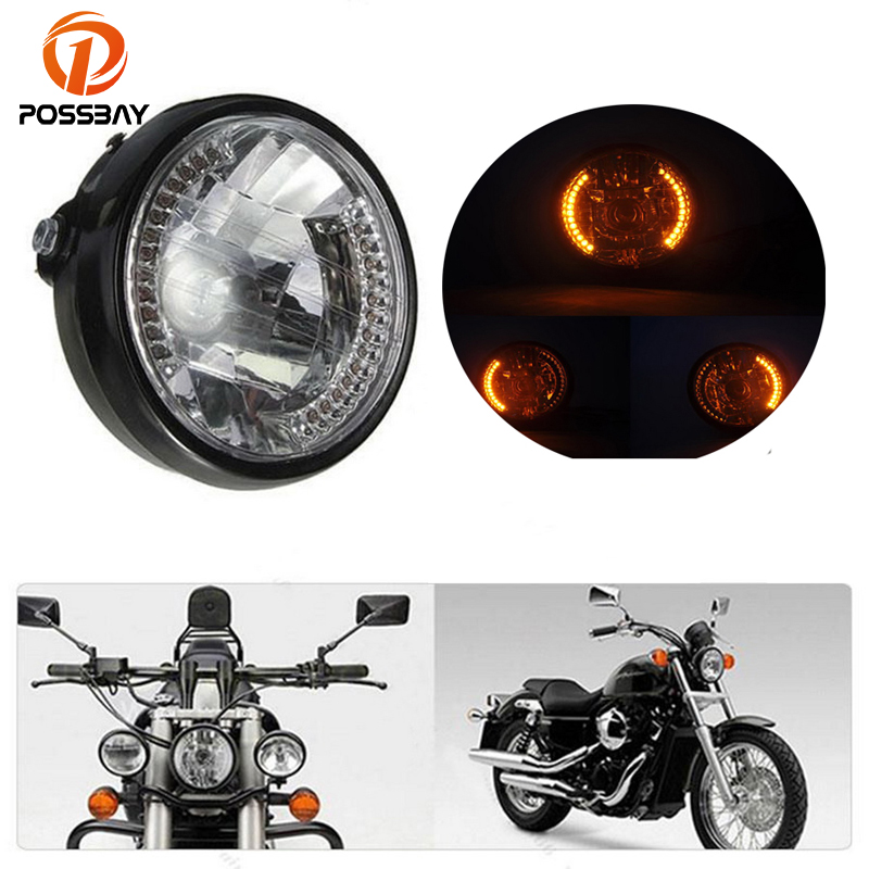POSSBAY Amber H4 Motorcycle Headlight with Turn Signal Halogen Motorbike Universal for Honda Harley BMW Ducati Head Light|  - title=
