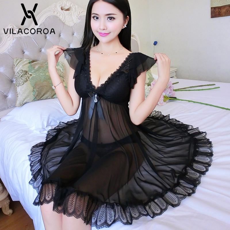 7 Color V Neck Mesh Lace Ruffle Night Dress Women Sexy Perspective Open Back Nightgowns Plus Size Nightwear Lingerie Sleepwear
