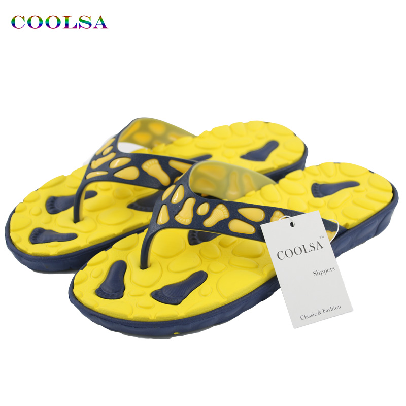 COOLSA New Summer Men Flip Flops Cute Footprint Flat Slides Non-Slip EVA Sandals Home Bathroom Massage Slipper Casual Beach Shoe waterfall spout basin sink faucet golden finish bathroom mixer tap solid brass single handle with hole cover plate