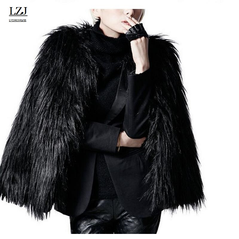 LZJ 2017 Women Winter Black Fur Coat Long Sleeve Faux Fur Outerwear Lady Short Style Fur Jacket Brand Coats Increase size XXXL