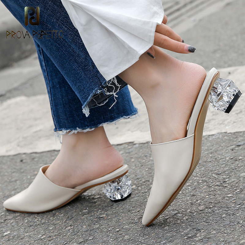 Prova Perfetto 2019 High Heel Mules Women Pointed Toe Pumps Shoes Genuine Leather Slippers Spring Ladies